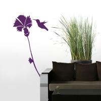 Blume meets Kolibri - Wandtattoo