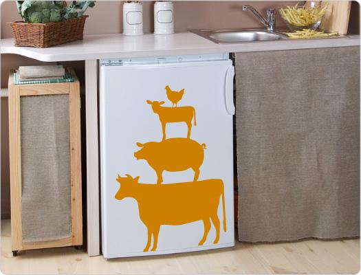 Rind-Schwein-Lamm-Huhn Wandtattoo