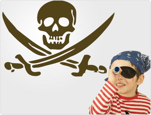 Totenkopf Pirat - Wandtattoo Wandaufkleber