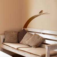 Vogel auf Grashalm - Wandsticker