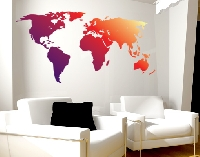 WandTattoo No.212 Weltkarte Rot