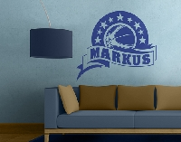 WandTattoo No.MW85 Wunschtext Basketball Star