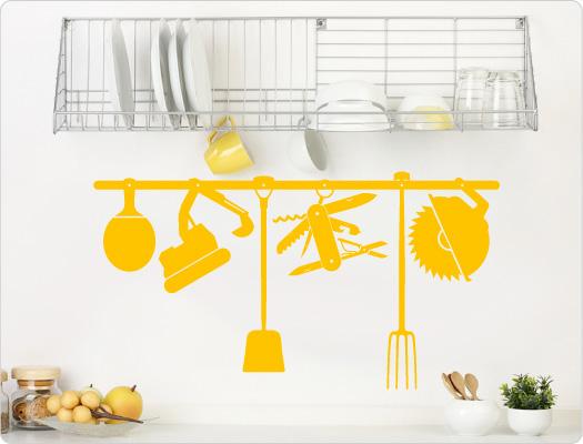 Wandtattoo Küchenutensilien