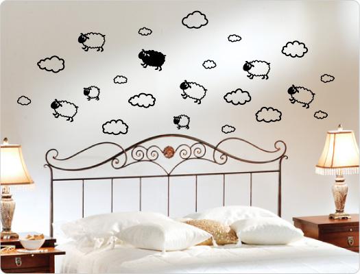 Wandtattoo Schafe mit Wolken